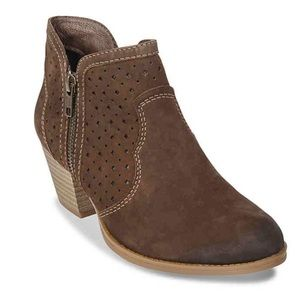 Earth booties brown leather perforated cowboy heel
